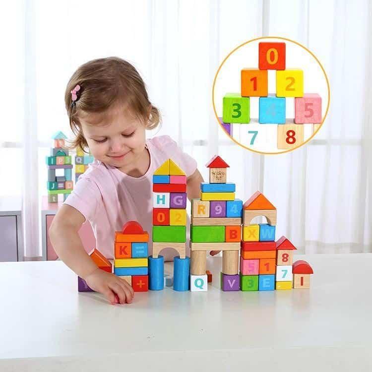 70pcs Blocks - Rubber Wood Tooky Toy
